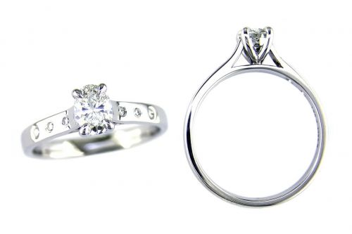 oval cut diamond multi-stone engagement ring style with diamond set band, designed & made by Faller the Jeweller, Derry/ Londonderry, Northern Ireland, bespoke rings, custom design by Faller
