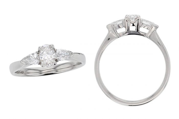 oval cut diamond trilogy engagement ring style, designed & made by Faller the Jeweller, Derry/ Londonderry, Northern Ireland, bespoke cluster rings, custom design by Faller, platinum, three stone,