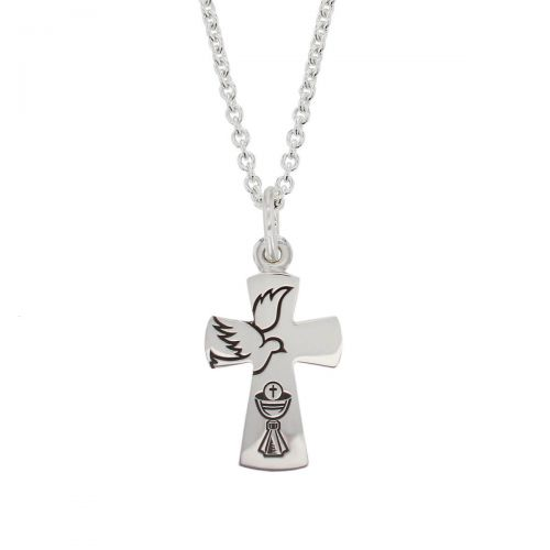 Faller sterling silver dove & chalice flared angel cross pendant, christian symbol, First Communion Cross