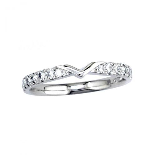 V shaped platinum ladies round brilliant cut diamond wedding ring, eternity ring, personalised engraving, court profile, comfort fit, precious jewellery by Faller of Derry/ Londonderry, jewelry, claw set