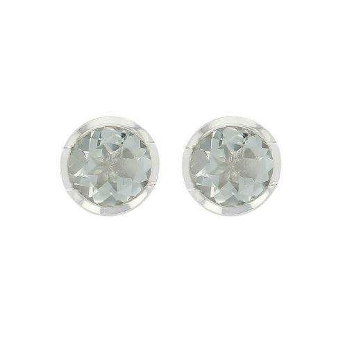 sterling silver round cut faceted green quartz gemstone earrings, designer jewellery, green grey quartz gem studs, jewelry, handmade by Faller, Londonderry, Northern Ireland, Irish hand crafted, darcy, D'arcy, gray