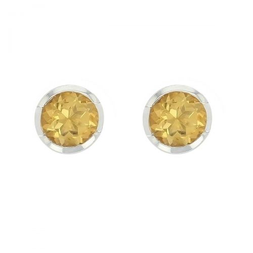 sterling silver round cut faceted citrine gemstone earrings, designer jewellery, yellow quartz gem studs, jewelry, handmade by Faller, Londonderry, Northern Ireland, Irish hand crafted, darcy, D'arcy