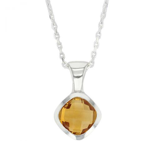 sterling silver cushion cut faceted citrine gemstone pendant, designer jewellery, yellow quartz gem, jewelry, handmade by Faller, Londonderry, Northern Ireland, Irish hand crafted, darcy, D'arcy, checquerboard