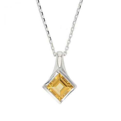 sterling silver princess cut faceted citrine gemstone pendant, designer jewellery, square yellow quartz gem, jewelry, handmade by Faller, Londonderry, Northern Ireland, Irish hand crafted, darcy, D'arcy