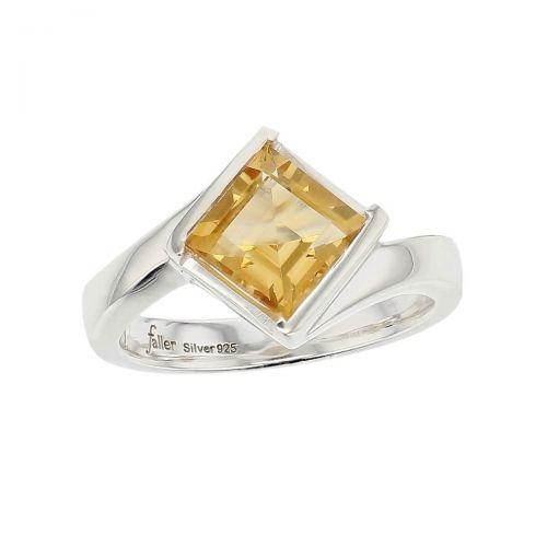 sterling silver yellow square cut citrine gemstone dress ring, designer jewellery, quartz gem, jewelry, handmade by Faller, Londonderry, Northern Ireland, Irish hand crafted, darcy, D'arcy