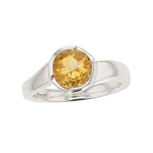 sterling silver yellow round cut citrine gemstone dress ring, designer jewellery, quartz gem, jewelry, handmade by Faller, Londonderry, Northern Ireland, Irish hand crafted, darcy, D'arcy