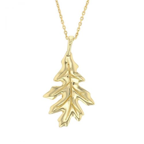 Faller Oakleaf, Derry, Londonderry, Northern Ireland, oak wood, acorn, angel, leaf, St Columba, St. Comcille, christian, heritage, historical, 18ct yellow gold pendant