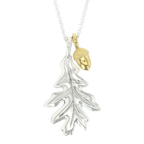 Faller Oakleaf, Derry, Londonderry, Northern Ireland, oak wood, acorn, angel, leaf, St Columba, St. Comcille, christian, heritage, historical, sterling silver & 18ct yellow gold pendant