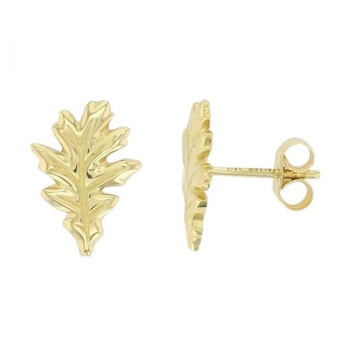 Faller Oakleaf, Derry, Londonderry, Northern Ireland, oak wood, acorn, angel, leaf, St Columba, St. Comcille, christian, heritage, historical, 18ct yellow gold stud earrings