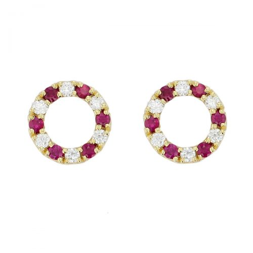 Faller Eternal Circle, round brilliant cut diamond & ruby circle 18ct yellow gold ladies stud earrings, symbol of everlasting love, eternal circle of life, wedding anniversary, celebrate birth, 18kt, designer, handmade by Faller, Derry/ Londonderry, hand crafted, precious jewellery, jewelry