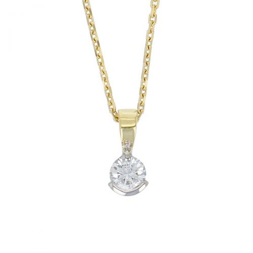 Faller round brilliant cut part rim set diamond 18ct yellow& white gold ladies solitaire pendant with chain, 18kt, designer, handmade by Faller, Derry/ Londonderry, hand crafted, precious jewellery, jewelry