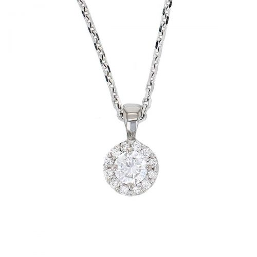 Faller round brilliant cut halo diamond 18ct white ladies pendant with chain, 18kt, designer, handmade by Faller, Derry/ Londonderry, hand crafted, precious jewellery, jewelry