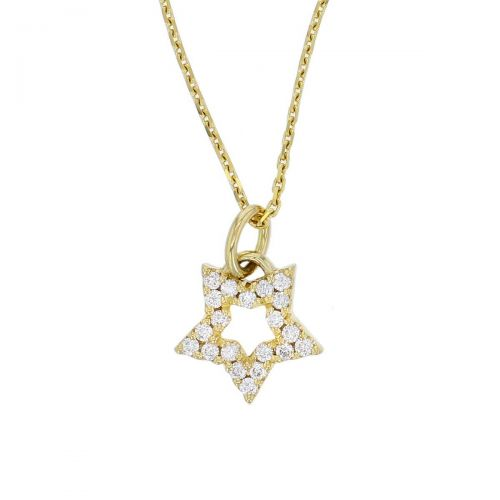 18ct yellow gold diamond star outline pendant, Ireland, designer handmade by Faller, hand crafted