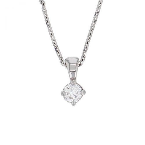Faller round brilliant cut 4 claw set diamond 18ct white gold ladies solitaire pendant with chain, 18kt, designer, handmade by Faller, Derry/ Londonderry, hand crafted, precious jewellery, jewelry