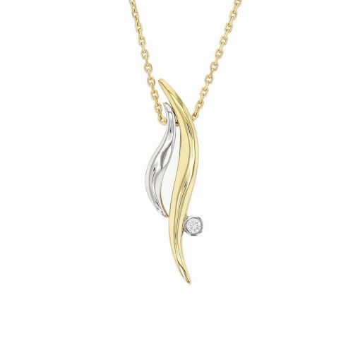 Faller Flame diamond pendant, 18ct white gold, 18ct yellow gold, designer jewellery, jewelry, hand crafted