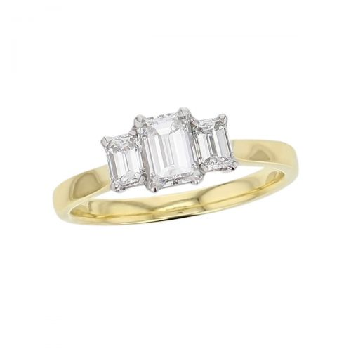 emerald cut diamond trilogy engagement ring, platinum & 18ct yellow gold designer handmade by Faller, hand crafted, betrothal, promise, precious jewellery, jewelry, GIA certified, hand crafted, G.I.A. GIA, three stone, octagon cut