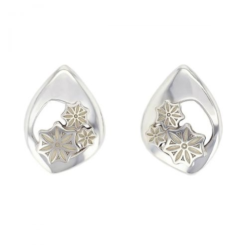 Faller Marigold Floral , pillar stone, Carndonagh, Inishowen, Co. Donegal, celtic, ancient, monastery, St, Patrick, ladies, heritage, historical, intricate carving, Christian pilgrimage, medieval, St. Columba, stud earrings, sterling silver