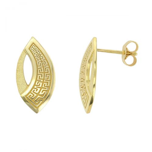 Faller Marigold Maze , pillar stone, Carndonagh, Inishowen, Co. Donegal, Greek key pattern, celtic, ancient, monastery, St, Patrick, ladies, heritage, historical, intricate carving, Christian pilgrimage, medieval, St. Columba, stud earrings, 18ct yellow gold