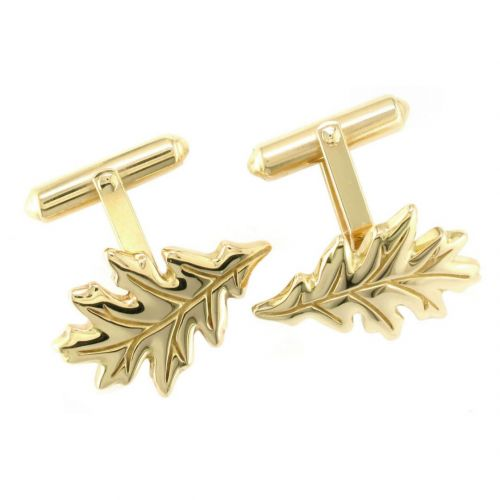 Faller Oakleaf, Derry, Londonderry, Northern Ireland, oak wood, acorn, angel, leaf, St Columba, St. Comcille, christian, heritage, historical, 18ct yellow gold cufflinks