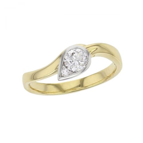 pear, round cut solitaire diamond engagement ring, platinum, 18ct yellow gold, designer, handmade by Faller, hand crafted, betrothal, promise, precious jewellery, jewelry, GIA certified, bridal set, duet ring