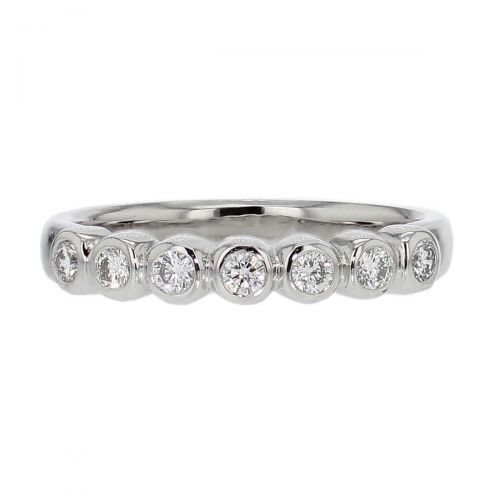 3.2mm wide platinum ladies 7 round brilliant cut rim set diamond eternity ring, woman's bridal, personalised engraving, court profile, comfort fit, precious jewellery by Faller of Derry/ Londonderry, jewelry
