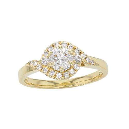 round brilliant cut diamond, twist crossover halo cluster 18ct yellow gold engagement ring, designer, handmade by Faller, hand crafted, betrothal, promise, precious jewellery, jewelry, hand crafted dress ring, multistone, GIA certified, G.I.A. GIA