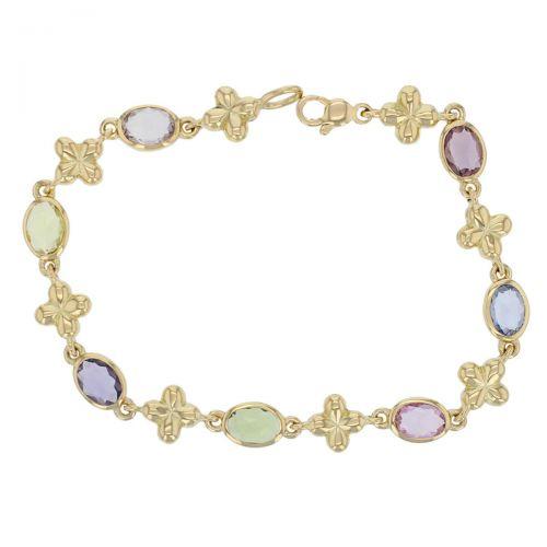 Kandy 18ct yellow gold pink blue green purple oval rose cut sapphire gemstone ladies petal cross link bracelet, designer jewellery, gem, jewelry, handmade by Faller, Londonderry, Northern Ireland, Irish hand crafted