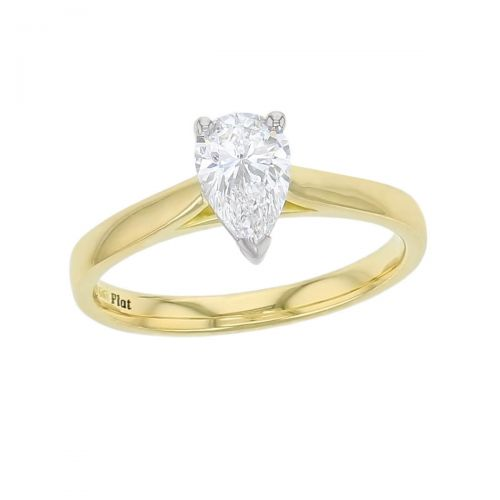 pear cut diamond solitaire engagement ring, platinum & 18ct yellow gold, 18kt, designer, handmade by Faller, hand crafted, betrothal, promise, precious jewellery, jewelry, GIA certified, hand crafted, G.I.A. GIA,