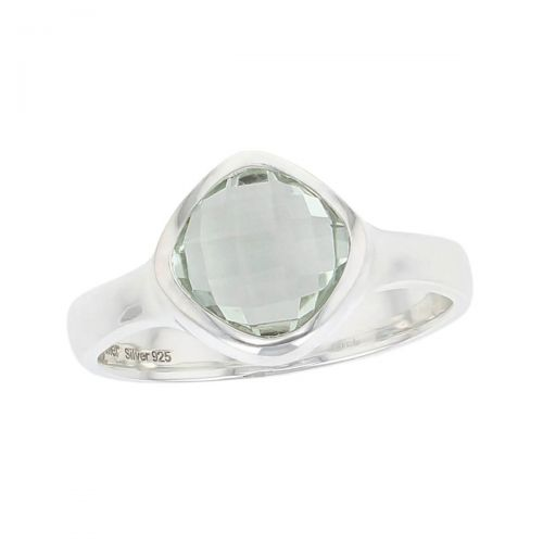 sterling silver cushion cut faceted prasiolite gemstone dress ring, designer jewellery, green quartz gem, jewelry, handmade by Faller, Londonderry, Northern Ireland, Irish hand crafted, darcy, D'arcy, checquerboard