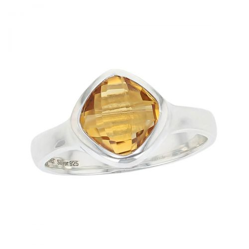 sterling silver yellow faceted cushion cut citrine gemstone dress ring, designer jewellery, quartz gem, jewelry, handmade by Faller, Londonderry, Northern Ireland, Irish hand crafted, darcy, D'arcy, checquerboard