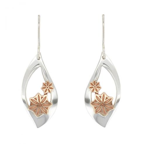 Faller Marigold Floral , pillar stone, Carndonagh, Inishowen, Co. Donegal, celtic, ancient, monastery, St, Patrick, ladies, heritage, historical, intricate carving, Christian pilgrimage, medieval, St. Columba, drop earrings, sterling silver & 18ct rose gold