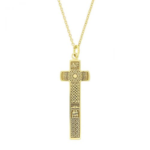 Bodan, Clonca, Donegal, 18ct yellow gold, Irish high cross, Inishowen, celtic cross, ancient, monastery, St, Boden's, St. Boudan, Culdaff, pendant, men's, ladies, heritage, historical, 10th century, intricate carving, miracle of the loaves and fishes, Christian, inter-lace, plait, St. Paul and St. Anthony in the desert, Faller