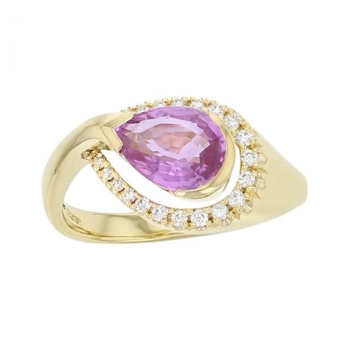 18ct yellow gold ladies pear cut pink sapphire & diamond designer cluster ring designed & hand crafted by Faller of Derry/ Londonderry, halo dress ring, precious gem jewellery, jewelry