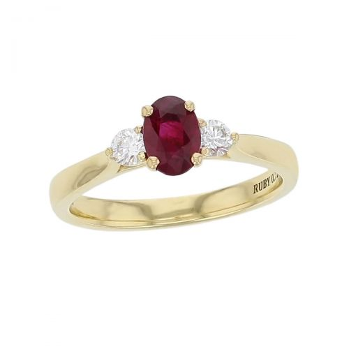 alternative engagement ring, 18ct yellow gold round brilliant cut diamond & oval cut ruby trilogy ring designer three stone dress ring handmade by Faller, hand crafted, precious jewellery, jewelry, ladies , woman