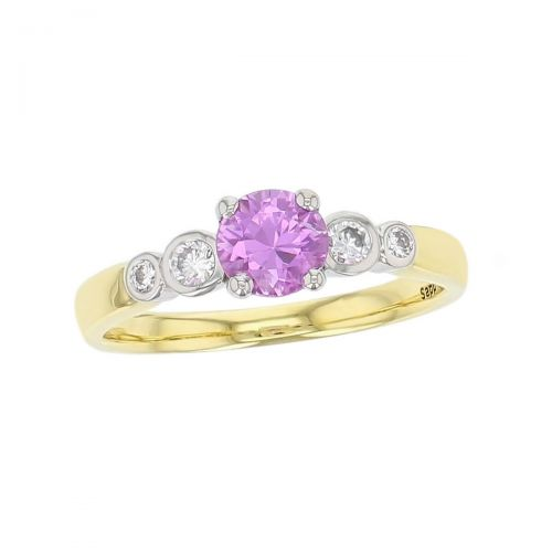 alternative engagement ring, alternative engagement ring, 18ct yellow gold & platinum ladies round cut pink sapphire & diamond designer multi stone engagement ring designed & hand crafted by Faller of Derry/ Londonderry, dress ring, precious gem jewellery, jewelry, shoulder set