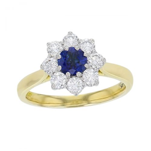 alternative engagement ring, 18ct yellow gold & platinum ladies round cut blue sapphire & diamond designer cluster engagement ring designed & hand crafted by Faller of Derry/ Londonderry, halo dress ring, precious gem jewellery, jewelry