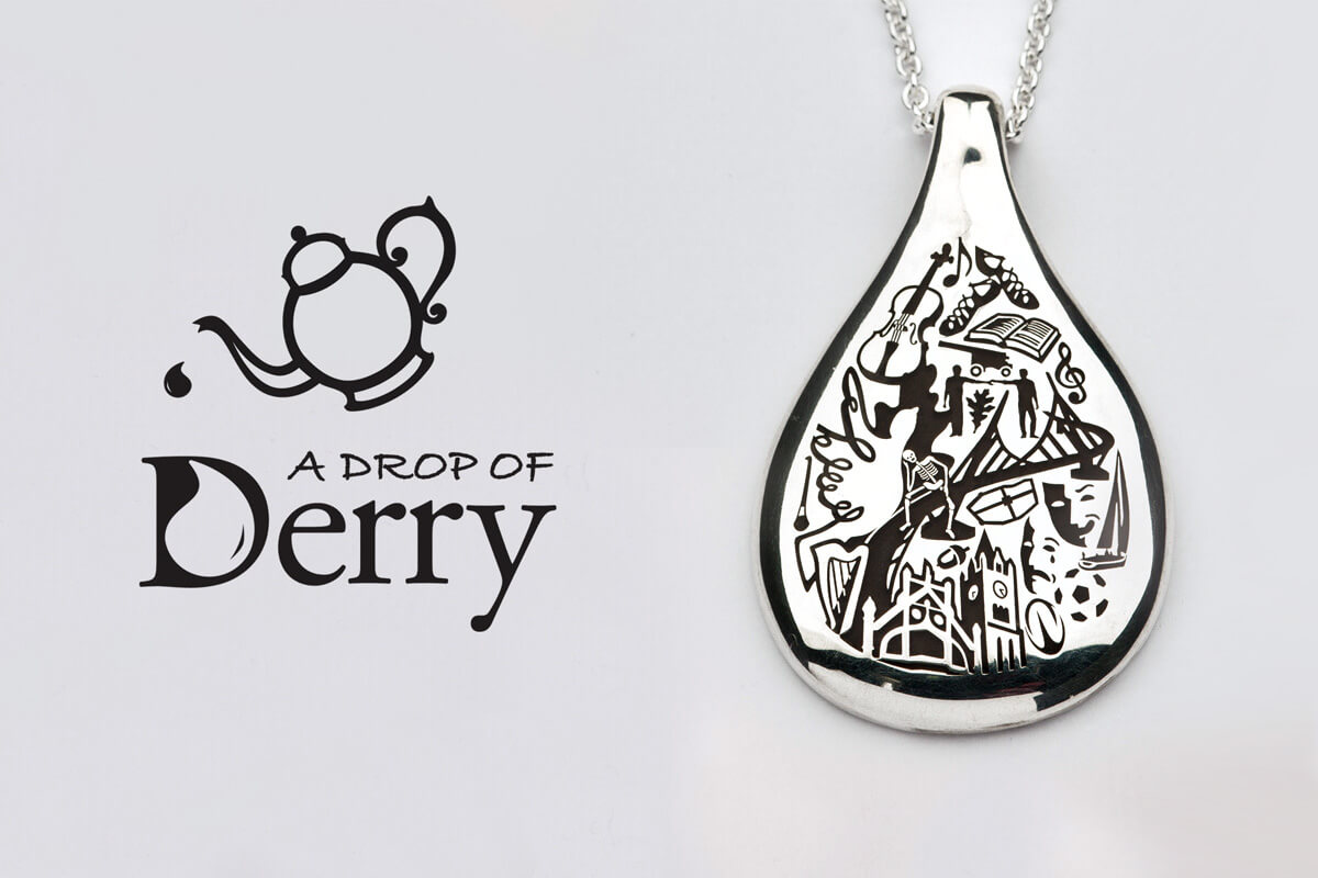 Faller the Jeweller, Drop of Derry, Londonderry, Northern Ireland, culture, heritage, historical, peace bridge, guildhall, music, sterling silver, 18ct yellow gold, designer jewellery, handcrafted jewelry