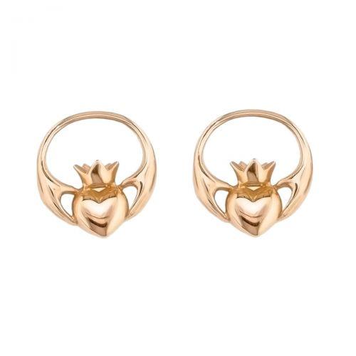 Faller Claddagh, 18ct rose gold, Irish, love, loyalty & friendship, hands, heart & crown, earrings, ladies