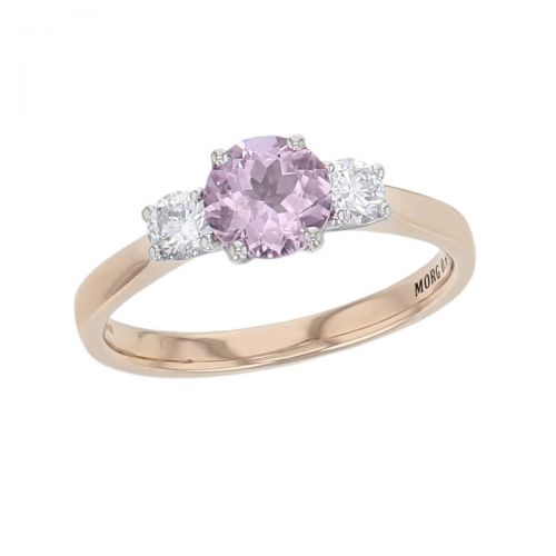 alternative engagement ring, 18ct rose gold & platinum round brilliant cut diamond & round cut pink morganite trilogy ring designer dress ring handmade by Faller, hand crafted, precious jewellery, jewelry, ladies , woman