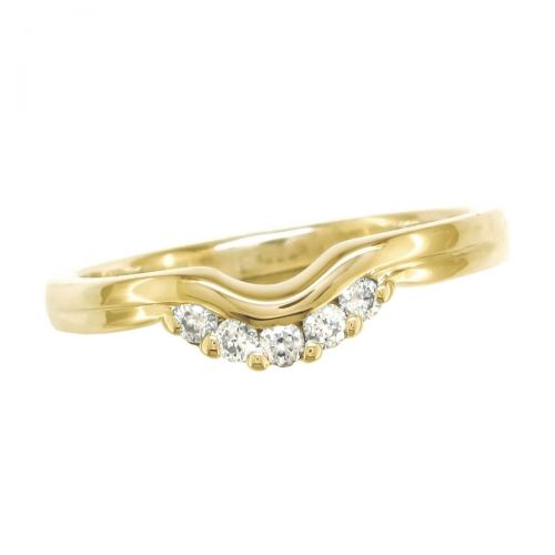 curved 18ct yellow gold ladies round brilliant cut diamond wedding ring, eternity ring, personalised engraving, court profile, comfort fit, precious jewellery by Faller of Derry/ Londonderry, jewelry, claw set