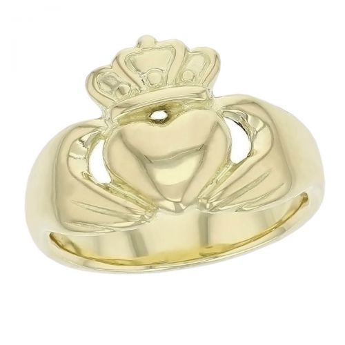 Faller Claddagh, 18ct yellow gold, Irish, love, loyalty & friendship, hands, heart & crown, dress ring, men's