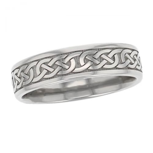 continuous celtic knot wedding ring pattern, men's, gents, woven pattern, Irish