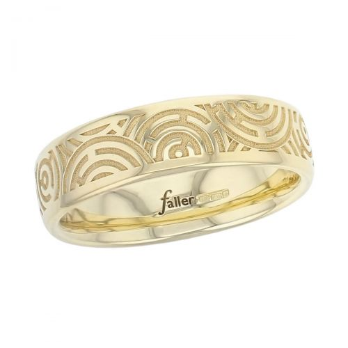 maze, labyrinth pattern 18ct yellow gold mens wedding rin, gents dress ring, made by Faller