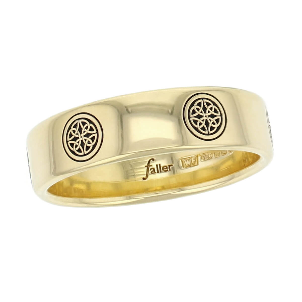 18ct yellow gold west cross, clonca pattern wedding ring, men's, gents, Irish, celtic plait, interlace, weave, , St. Boden, made by Faller