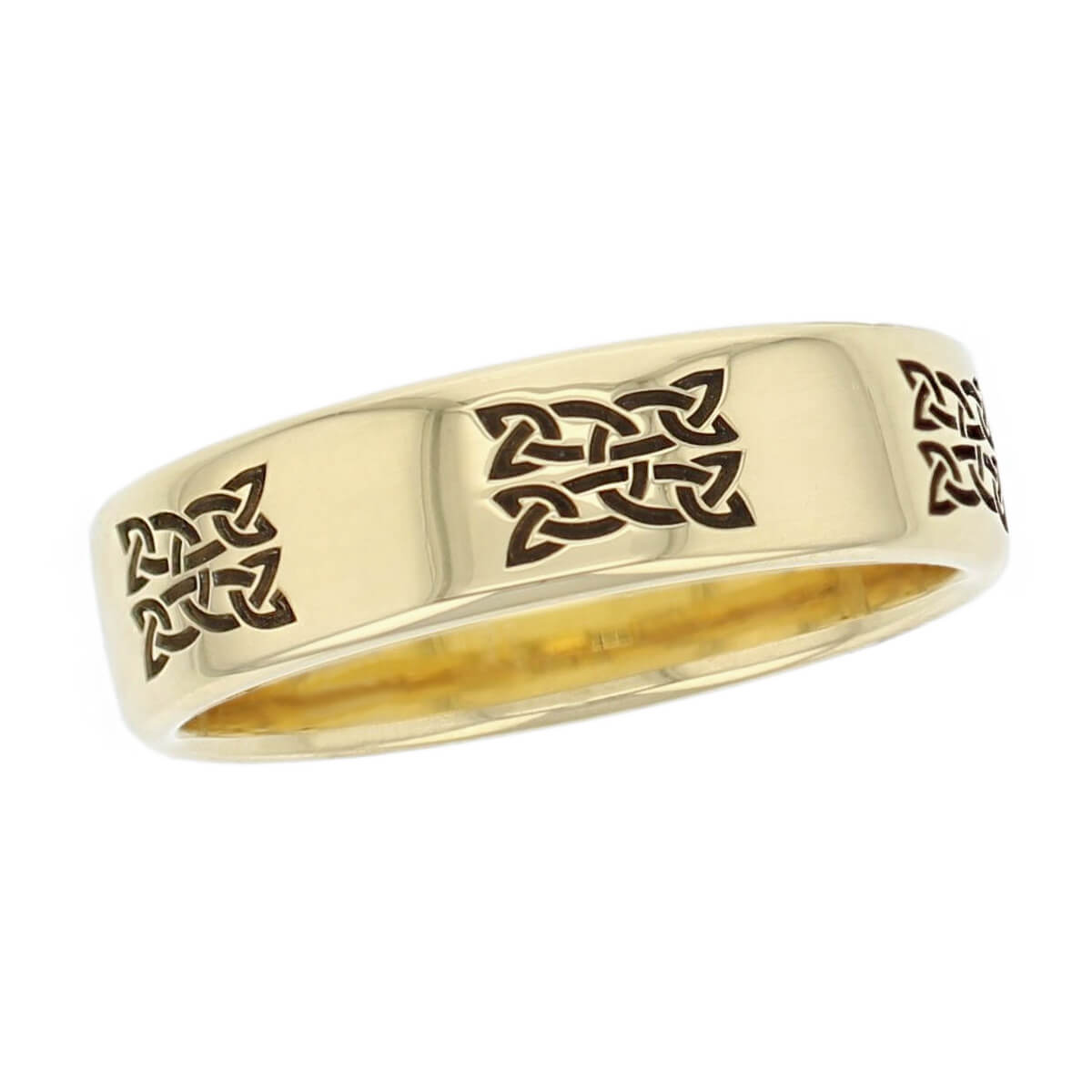 celtic knot wedding ring pattern, men's, gents, woven pattern, Irish, made by Faller, 18ct yellow gold