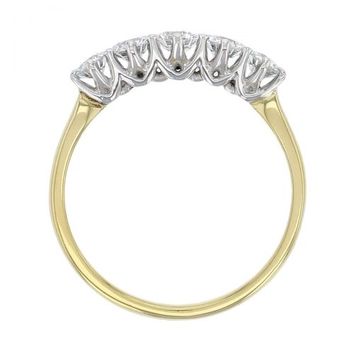 18ct yellow gold & platinum ladies 5 round brilliant cut claw set diamond eternity ring, woman's bridal, personalised engraving, court profile, comfort fit, precious jewellery by Faller of Derry/ Londonderry, jewelry, 18kt