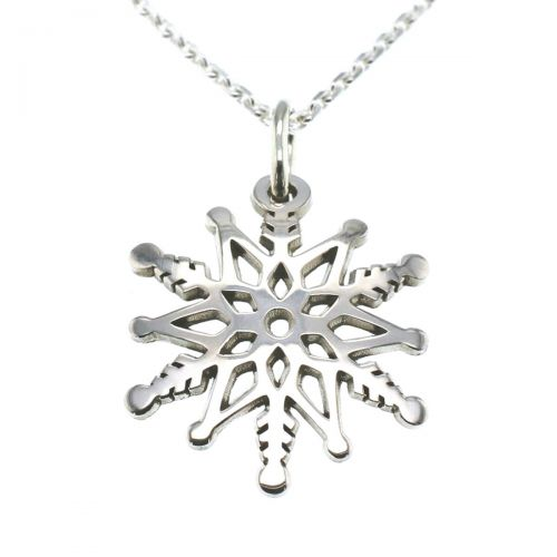 sterling silver snowflake pendant with chain, designer handmade by Faller, Derry/ Londonderry, Irish hand crafted