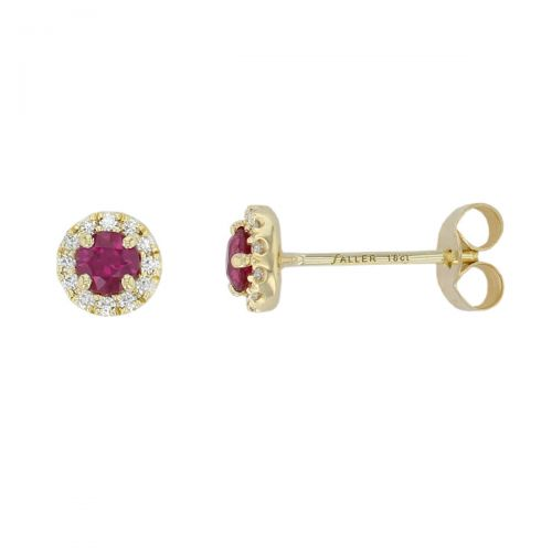 Faller ruby & diamond halo 18ct yellow gold ladies stud earrings, wedding anniversary, 18kt, designer, handmade by Faller, Derry/ Londonderry, hand crafted, precious jewellery, jewelry