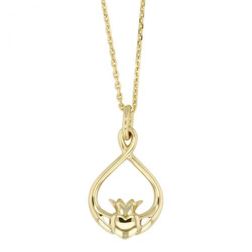 Faller Claddagh, 18ct yellow gold, Irish, love, loyalty & friendship, hands, heart & crown, pendant, ladies