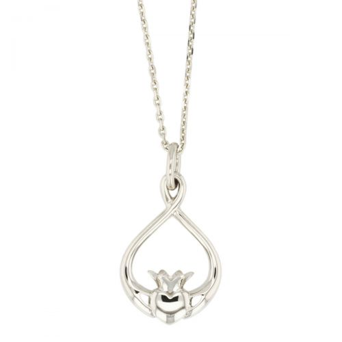 Faller Claddagh, sterling silver, Irish, love, loyalty & friendship, hands, heart & crown, pendant, ladies